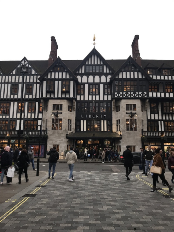 This is luxury department store Liberty, situated on Regent Street. Inside you will find high-end fashion and cruelty free cosmetics. (Photo by Selma Hansen)